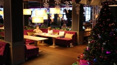 Sofas and interior in Siren cafe during New Year holiday Stock Footage