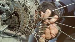Men hands configures the bike Stock Footage