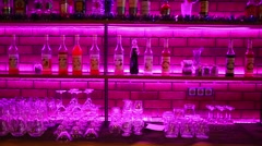 Bar with many bottles in Siren cafe during New Year holiday Stock Footage