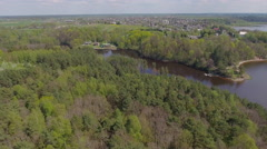 Countyside with lake aerial view. Stock Footage