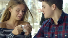 Couple on a date in a cute little Cafe Stock Footage