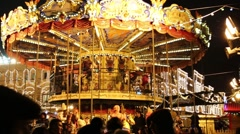 Carousel at annual Christmas Fair of GUM on Red Square Stock Footage