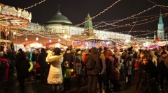 Crowd at annual Christmas Fair of GUM on Red Square Stock Footage