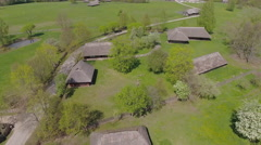 Typical baltic 19-th century village, iconic aerial view. Stock Footage