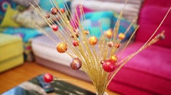 Beautiful shiny decoration on journal table, sofas out of focus Stock Footage