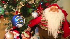 Christmas tree with many shiny balls and decorative dwarf Stock Footage