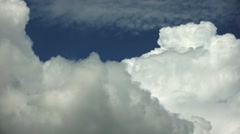 Fast moving clouds in the blue sky, above the clouds view - stock footage