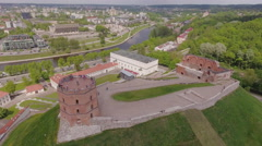 Vilnius, Lithuania, Cathedral square, Castle Hill, Gediminas Tower aerial view. Stock Footage