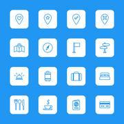 line travel icon set on white rounded rectangle - stock illustration