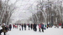 People walk in Sokolniki Park. Sokolniki is oldest park in Moscow Stock Footage