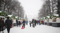 People in Sokolniki Park. Sokolniki Park is oldest park in Moscow Stock Footage