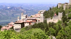 view of the castle tower on the hill in San Marino - stock footage