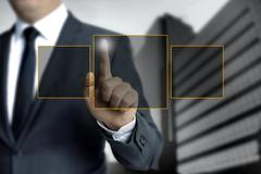 Man pointing on touch screen concept - stock photo