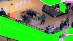Escalator in Shopping mall interior with green screen advertising space. Huge - stock footage
