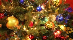 Close up of bright Christmas tree with shiny balls and illumination Stock Footage