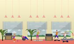 Fitness center interior vector illustration. People work out in gym horizontal Piirros