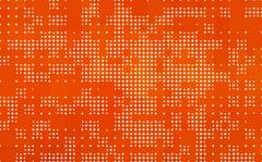 orange background made with circles and rounded squares - stock illustration