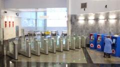 Interior of modern new subway station Spartak. Stock Footage