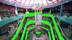 Shopping mall interior with green screen advertising space. Huge trade center - stock footage