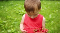 Little boy holds basket and eats strawberries outdoor Stock Footage