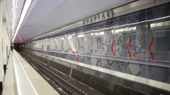 Subway station Spartak. In Moscow subway there are 200 stations Stock Footage