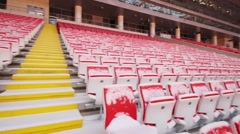 Rows of red and yellow seats in new Spartak stadium. Stock Footage