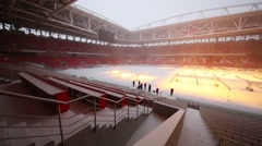 New Spartak stadium in snow in Moscow, Russia. Stock Footage