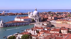 Panorama of the Grand Canal and the old town of Venice on a sunny day with a bir Stock Footage