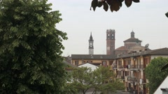 Panoramic view of Garlasco and churches, PV, Italy - stock footage