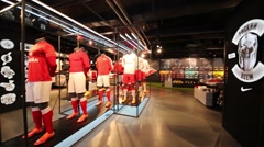 Shop with football suits in Spartak stadium in Moscow, Russia. Stock Footage