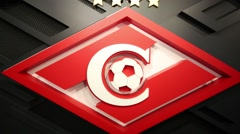 Logo of football club Spartak in Moscow, Russia. Stock Footage