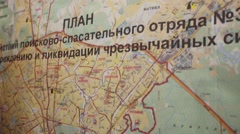 Map of Moscow for rescue operations in Emergency rescue service Stock Footage