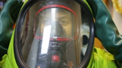 Man in protective mask - Team of rescue workers Stock Footage