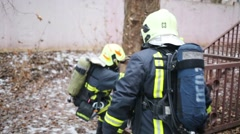 Firefighters train of North Eastern Administrative District Stock Footage