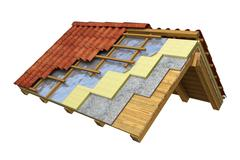 Roof thermal insulation 3D rendering Stock Illustration