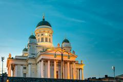 Senate Square With Lutheran Helsinki Cathedral At Evening Night Stock Photos