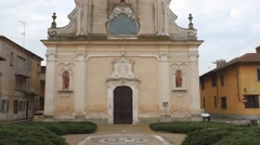 Church in Garlasco, PV, Italy, tilt shot Stock Footage