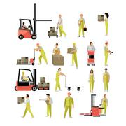 Delivery people silhouettes. Logistic and transportation icons isolated on white Stock Illustration