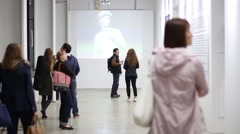 People in Michelangelo exhibition in Artplay Design Center Stock Footage