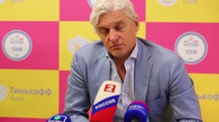 Oleg Tinkoff is interviewed to Russia 2 in Moscow, Russia. Stock Footage