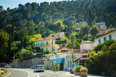 Traffic on in suburbs of city of Eze in France - stock photo