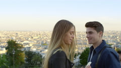 Young couple enjoying a weekend away in the beautiful city. Stock Footage