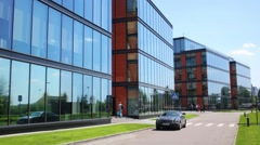 Business center Olympia Park and car in Moscow. Stock Footage