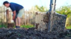 Digging garden beds Stock Footage