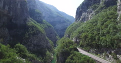 Aerial view of Moraca river canyon Stock Footage