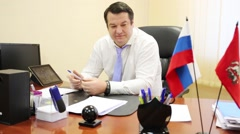 Maxim Koval, Head of district council Bogorodskoe. Stock Footage