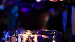 Close up view of drummer performing in night club, video with sound Stock Footage