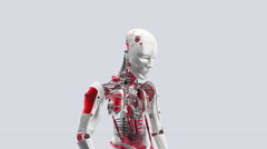 Futuristic humanoid robot awakening. 3D rendering - stock footage