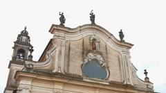 Facade of a church in Garlasco, PV, Italy Stock Footage