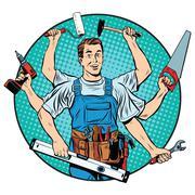 multi-armed master repair professional - stock illustration